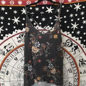 American Eagle Floral Tank Top with Cross back